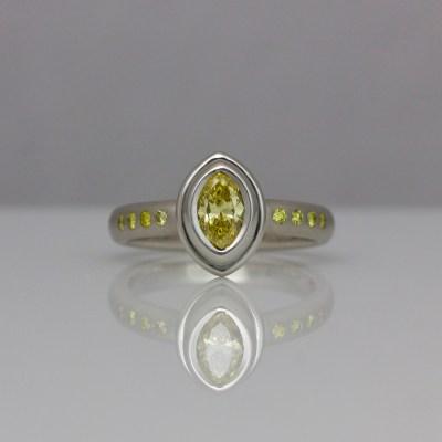 Contemporary yellow diamond ring