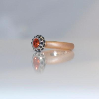 Orange sapphire black diamond ring