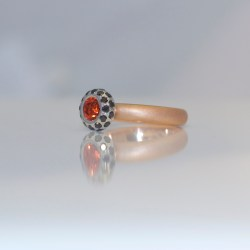 Orange sapphire black diamond ring