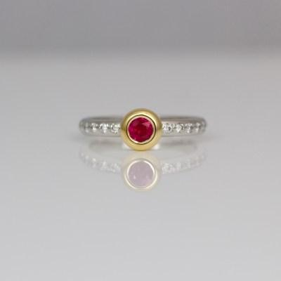 Ruby & diamond stacking ring
