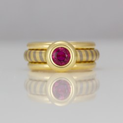 Ruby rub-over set modern ring