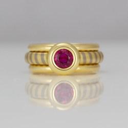 Ruby rub-over set modern ring