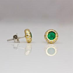 Emerald and diamond ear-studs