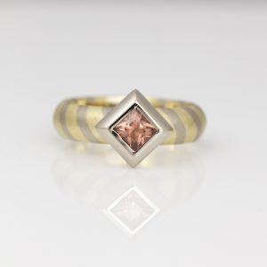 Padparadscha sapphire contemporary handmade ring David Ashton