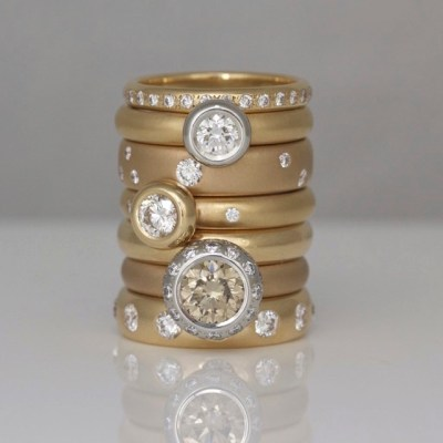 rose gold stacking rings David Ashton