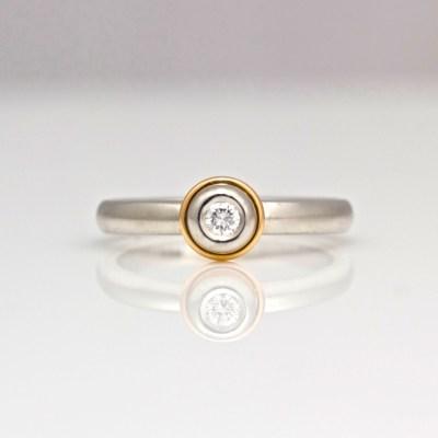 Platinum & diamond with rose gold ring