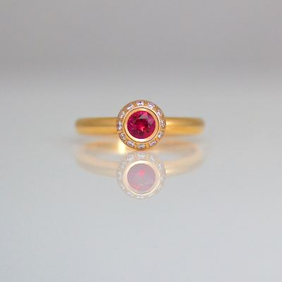 ruby diamond rose gold halo ring