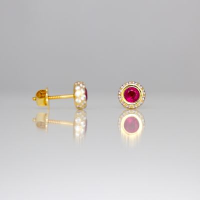 Contemporary ruby diamond ear-studs