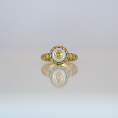 Contemporary yellow diamond & pearl ring
