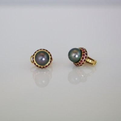 Ruby & pearl ear-studs