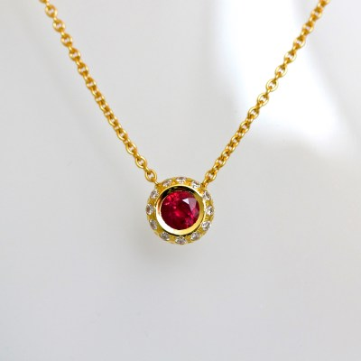 contemporary ruby & diamond necklace 18ct gold