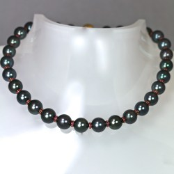 Tahitian pearls, finest rubies set in yellow gold necklace