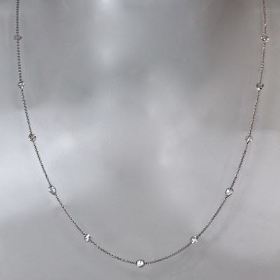 rose cut diamond white gold necklace