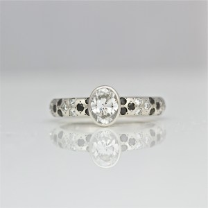 White & Black Diamonds in Platinum Ring
