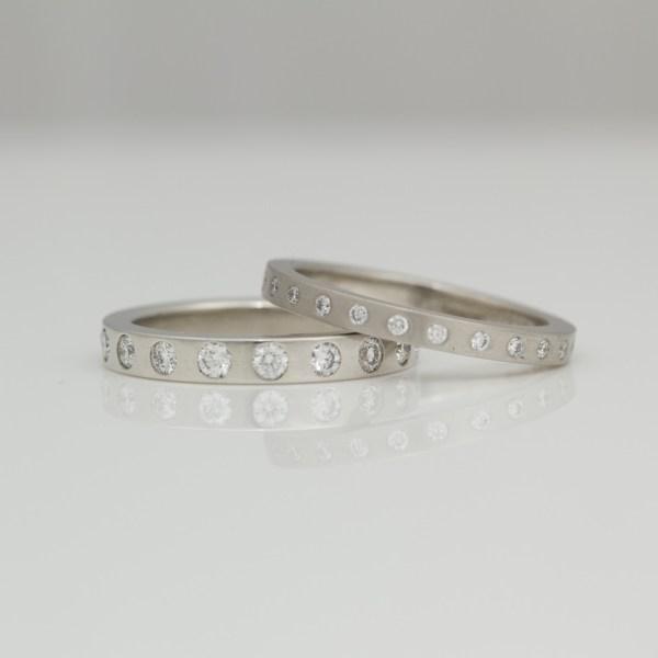 Modern platinum diamond eternity rings