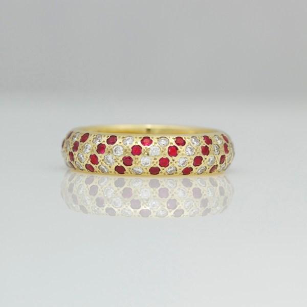 Rubies & diamonds pave set diagonal stripe ring