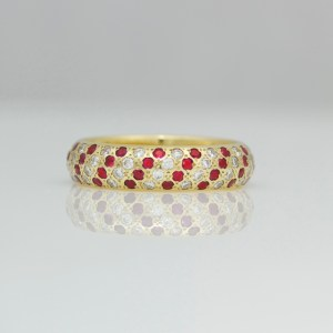 Rubies & diamonds pave set diagonal stripe ring