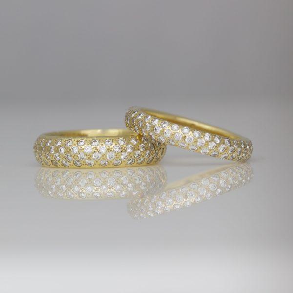 Pave set diamonds 18ct yellow gold