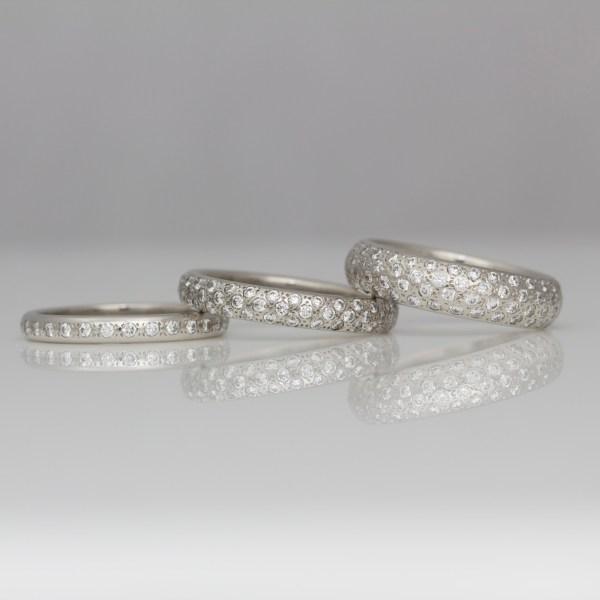pave set platinum rings