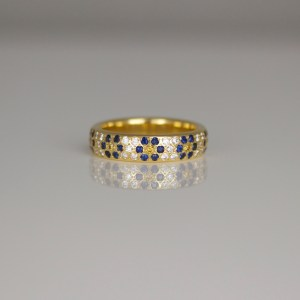Diamonds, Sapphires & rubies flush set flower rings
