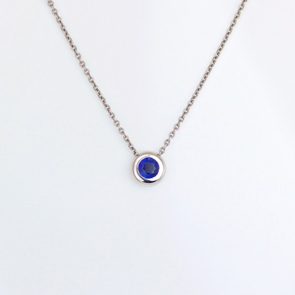 Blue sapphire rub-over set Platinum necklace