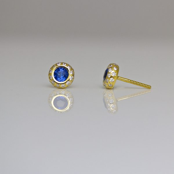Sapphire & diamond, 18ct gold ear-studs