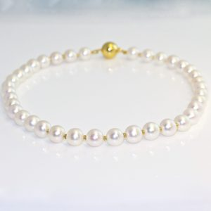 Pearl necklace with 18ct yellow gold spacers