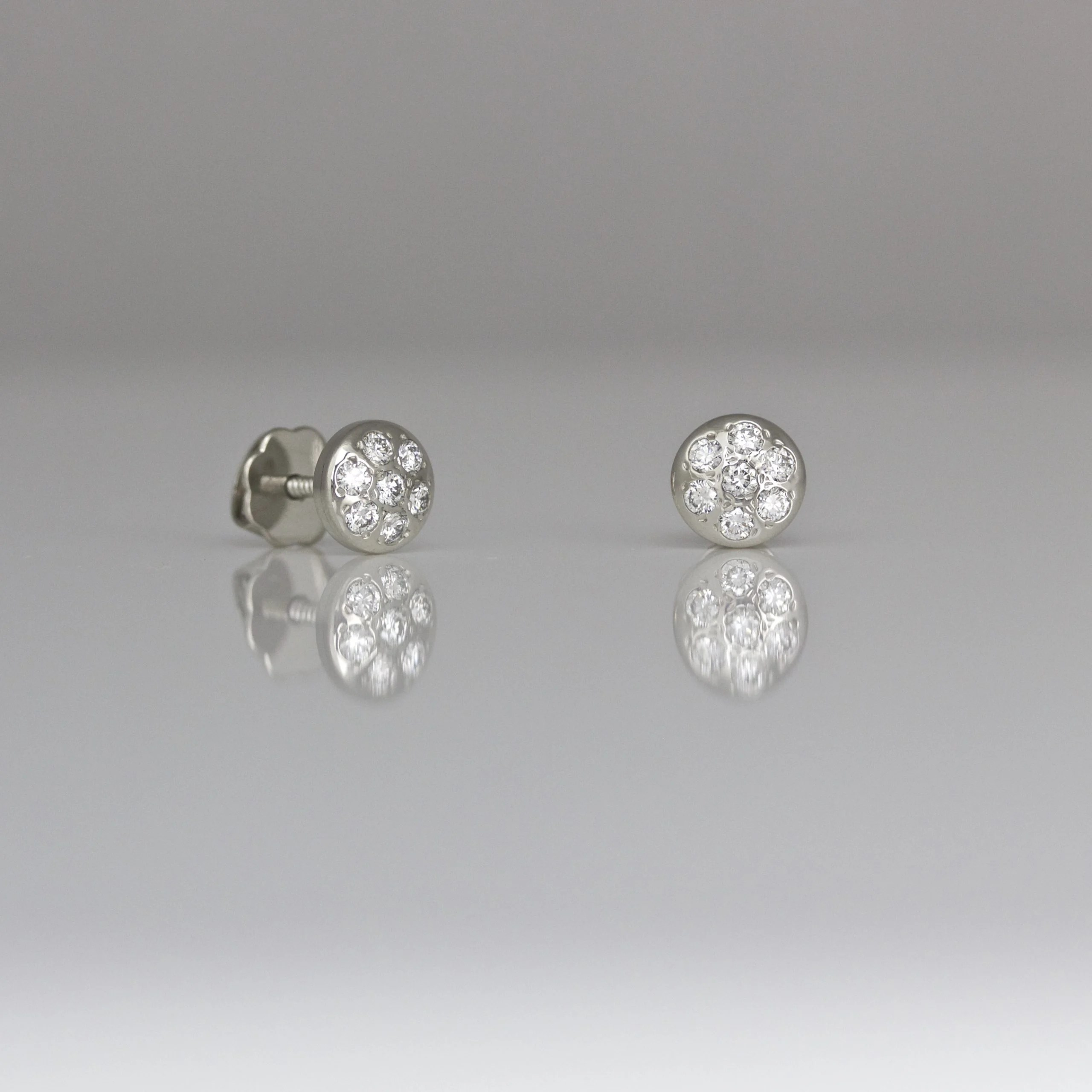 Perfect 18ct rose gold diamond ear-studs