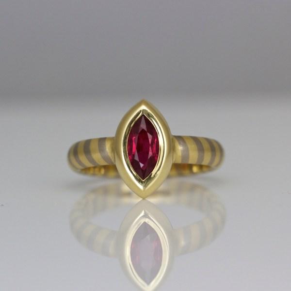 Marquise ruby ring 0948 David Ashton
