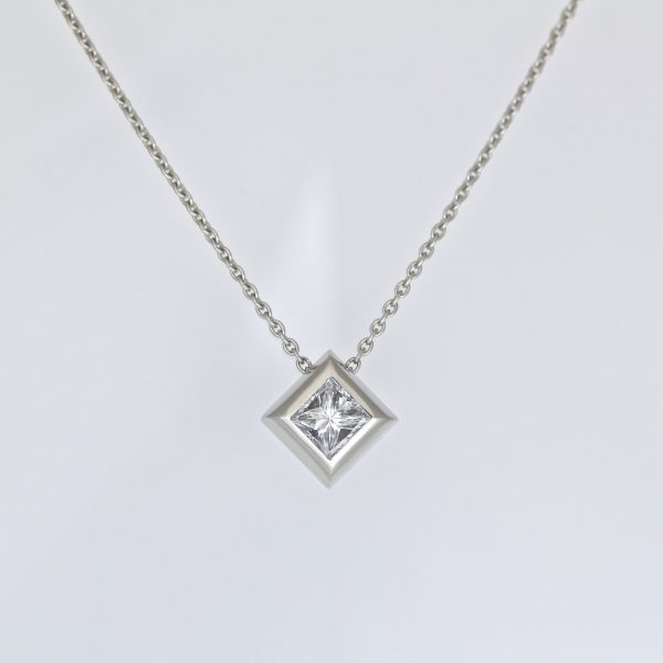 Princess cut diamond in platinum necklace