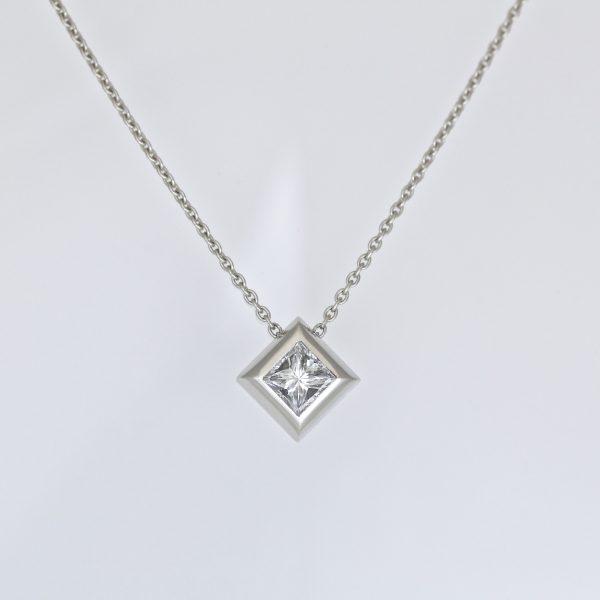 Princess cut diamond in platinum necklace