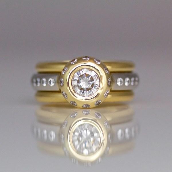 Diamond stacking ring set diamond, Platinum & 18ct gold