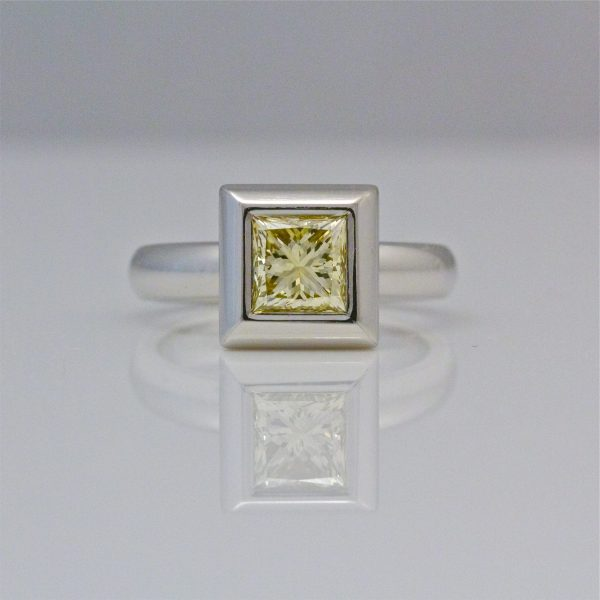 Natural yellow princess cut diamond platinum ring