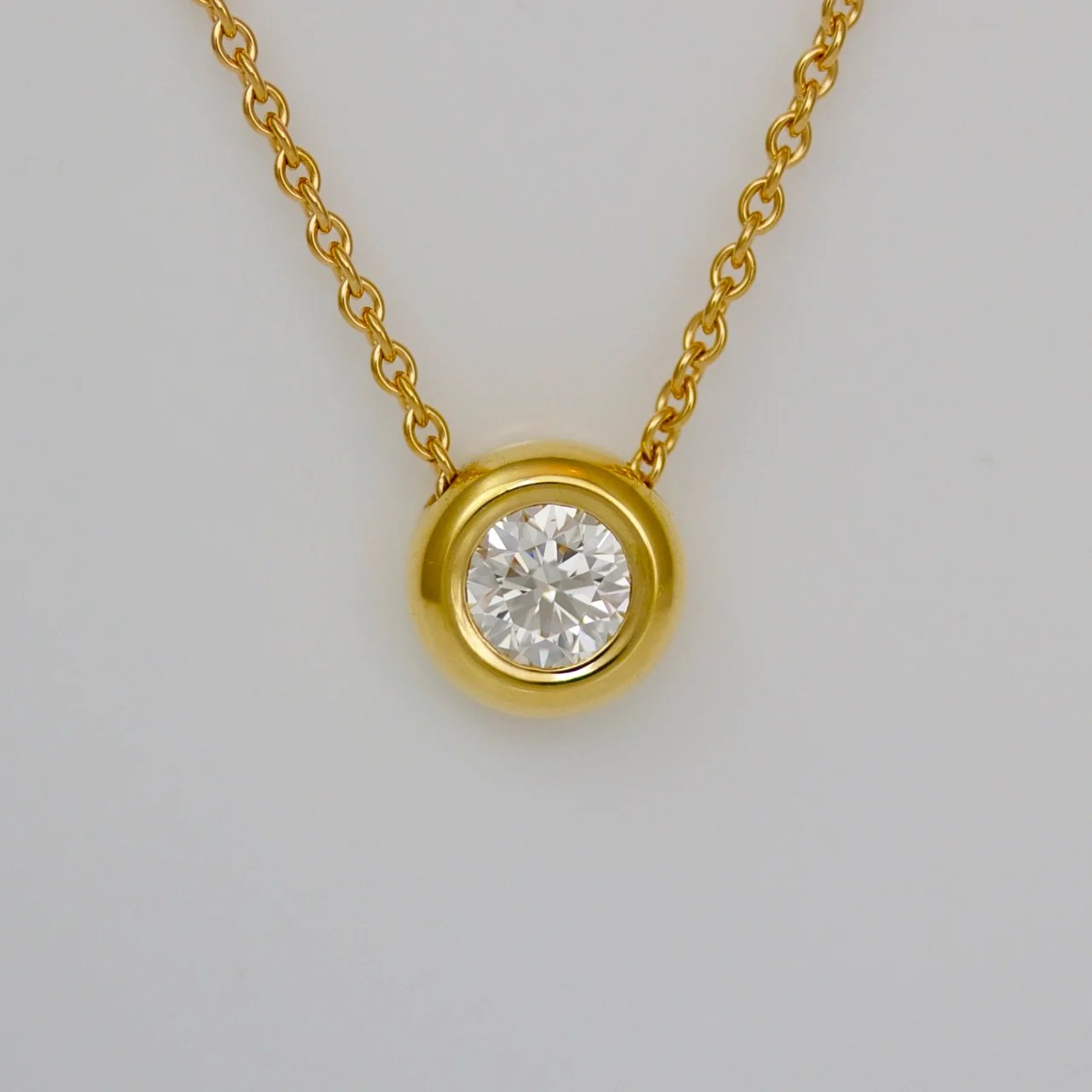 Diamond rub-over set in 18ct yellow gold necklace