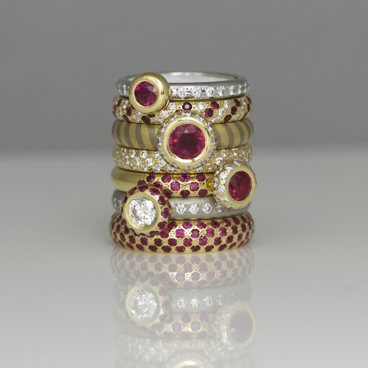 Modern ruby ring stack