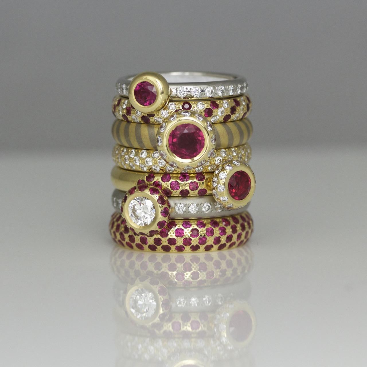 Modern ruby ring stack