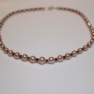 Pink pearl & black diamond necklace