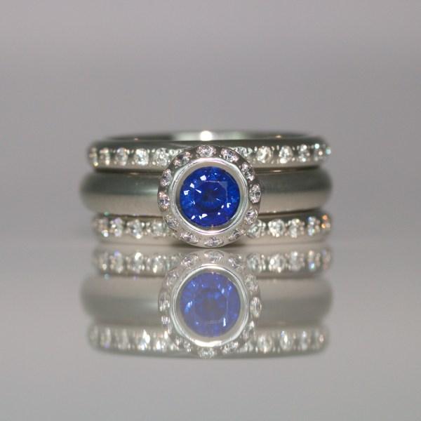 Sapphire & diamond platinum halo ring