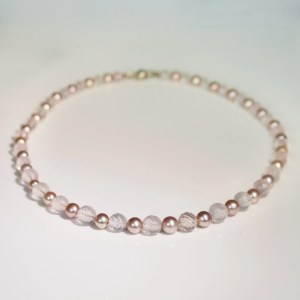 Pink pearl & quartz necklace