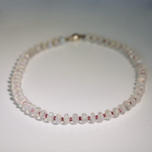 Pink tourmaline & moonstone necklace