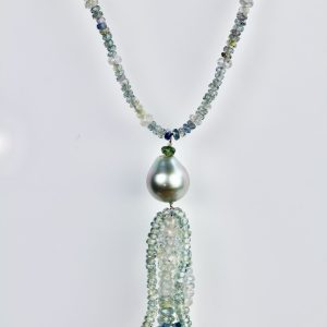 Sapphire & Tahitian pearl necklace