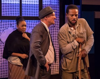 """Constance Jewell Lopez (Strawberry Woman), Brian Harwell (Detective) and Elijah Rock (Porgy) in Ensemble Theatre Company's """"Porgy and Bess"""" 2/8/17 the New Vic Theatre"""