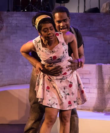 """Karole Foreman (Bess) and K.B. Solomon (Crown) in Ensemble Theatre Company's """"Porgy and Bess"""" 2/8/17 the New Vic Theatre"""