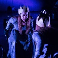 """Marie Ponce is King Richard in Lit Moon Theatre Company's """"Richard III"""" 3/7/17 Westmont College Black Box Theater"""