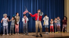 """Mac funs for the Pres in Upstarts! Youth Theater's production of Emma Jane Huerta's """"Mabreath"""" 3/15/17 Peabody Charter School"""