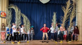 """The trees of Birnam Wood move in Upstarts! Youth Theater's production of Emma Jane Huerta's """"Mabreath"""" 3/15/17 Peabody Charter School"""