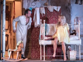 """Shawn Law (Archie) & Lily Nicksay (Baby Doll) in Ensemble Theatre Company's production of Tennessee Williams's """"Baby Doll"""