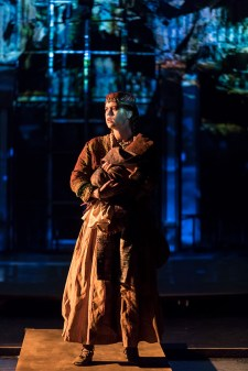 """Grusha saves royal son Michael - UCSB production of Bertold Brecht's """"The Caucasian Chalk Circle"""" 5/24/17 UCSB Hatlen Theater"""
