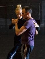 """Thryn Saxon & Estaban Moreno working on """"Sin Salida/In Love I Broke Beyond"""" 8/11/17 The Lobero Theatre"""