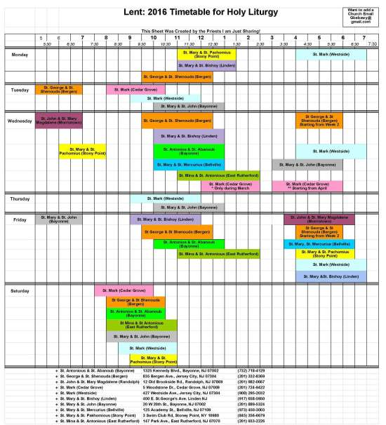 2016 Local Lenten Liturgy Schedule